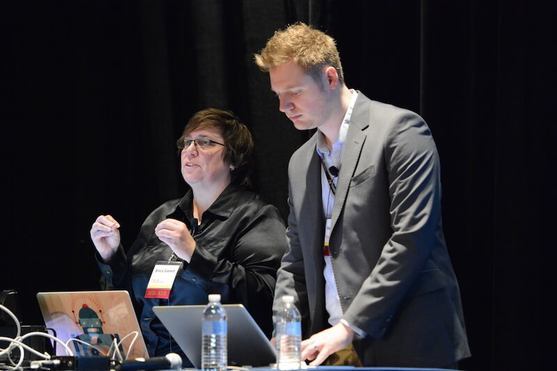 Me and co-presenter Erica Gamet during a GREP presentation at PePcon '14 in Chicago.